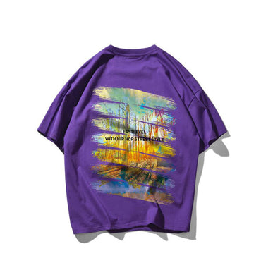 Graffiti print Hip Hop T Shirt Short Sleeves Loose Streets Streetwear