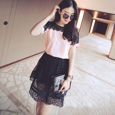 Fashion Chiffon Blouses Lace Short Sleeve Pink Shirts