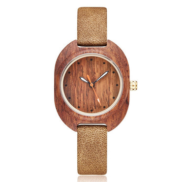 Fashion Simple Wood Leather Ladies Bracelet Watch