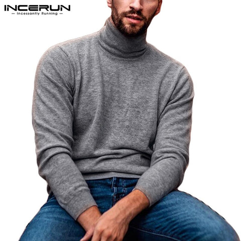 Fashion Turtleneck Sweater Long Sleeve Solid Casual