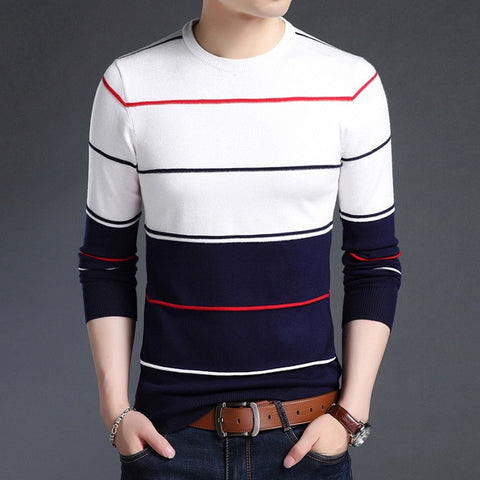 O-neck Striped Patchwork Sweater Slim Business
