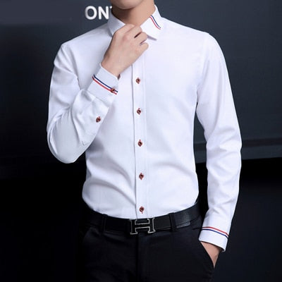 Fashion Oxford Shirts Long-Sleeve Camisa Masculina Slim Fit