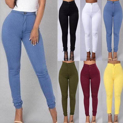 Fashion Solid Color Denim Tights Leggings Skinny Jeans