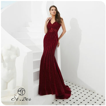 V-Neck Wine Beading Sleeveless Russian Floor Length Evening Dress