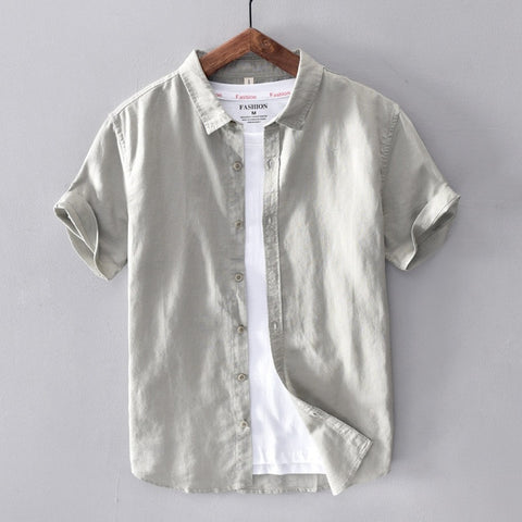 Cotton Linen Short Sleeve Shirts Casual Fashion Tops