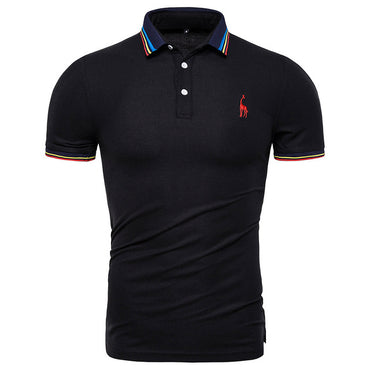 Cotton Polo Solid Deer Embroidery Short Sleeve Polo Shirt