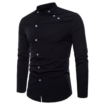 Business Top Stand Collar Long Sleeve Black White Dress Shirts