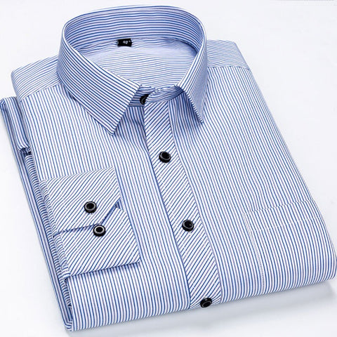 Striped Dress Shirts Long Sleeve Brand Clothing Social