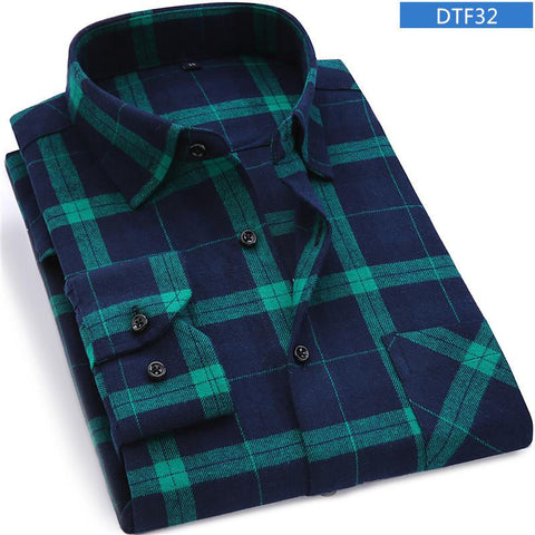 Plaid Flannel Shirt Chest Pocket Smart Casual Classic Dress Shirts