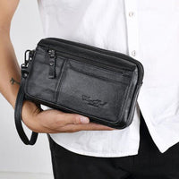 Business Clutch Wallet Real Leather Wrist Money Bags