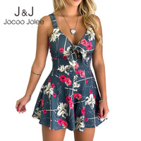 Boho Floral Print Playsuits Causal Sleeveless Hollow Out