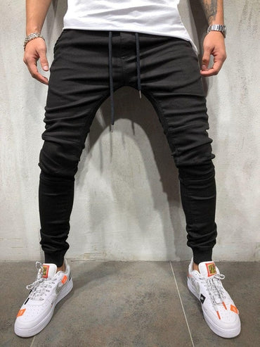 Denim Fabric Casual Track Pants Leg - Tie Pants