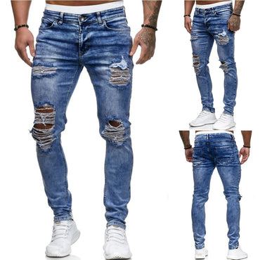Ripped Jeans Casual Black Blue Skinny slim Fit Denim Pants