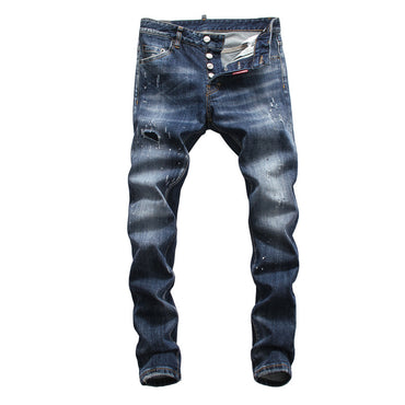 Printed With Hole Washed Casual Skinny Denim Jean