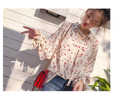 Long Flare Sleeve Chiffon Chic Blouse Cute Shirt