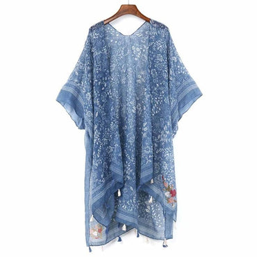 Colorful Floral Kimono Mujer bluse Beach Long Cardigan