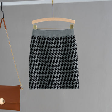 Luxury Jacquard Knit Sweater Elastic Band High Waist Midi Pencil Skirt