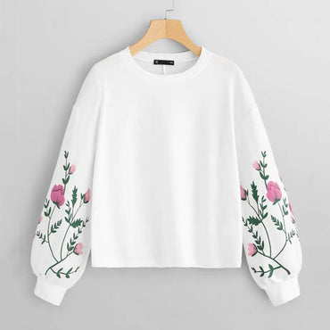 Fashion Sweatshirt Botanical Floral Print O-Neck Long Sleeve Pullovers