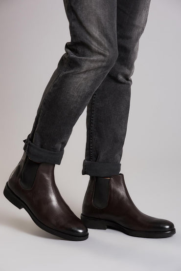 Pearl Genuine Leather Brown Boots