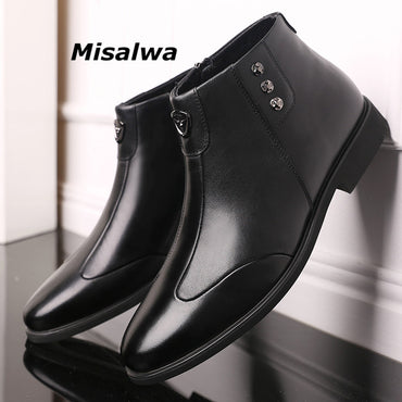 Warm Leather Boots Black Zipper High-top