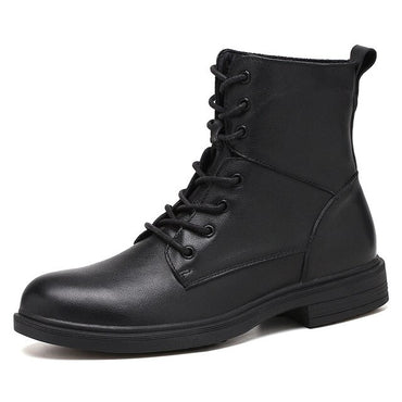 high-top leather shoes motorcycle boots