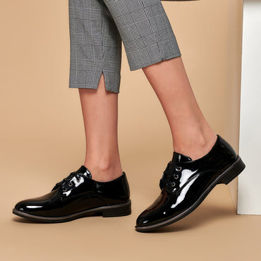 FLO 19K-198 Black Women Oxford Shoes