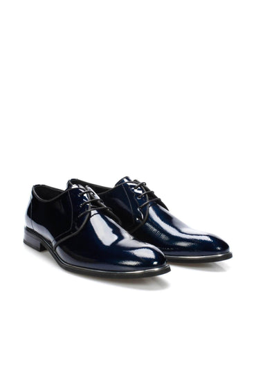 Pearl Genuine Leather Navy Blue Oxford Shoes
