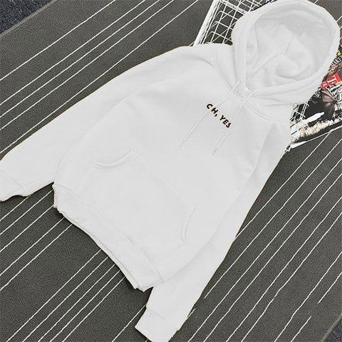 Fleece Oh Yes Letter Harajuku Print Pullover Thick Loose Hoodies