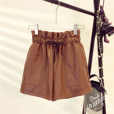 Female Sexy Leather High Waist Loose Wide Leg Short