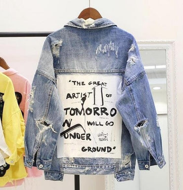 Graffiti letter BF denim jacket coat loose denim jacket parkas