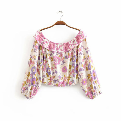 Boho chic pink floral printed bohemian lace-up top