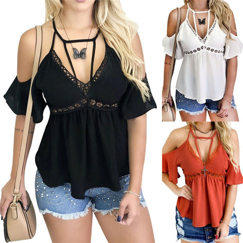 Chiffon T-Shirts Shoulderless Short Sleeve Deep V-Neck Tops