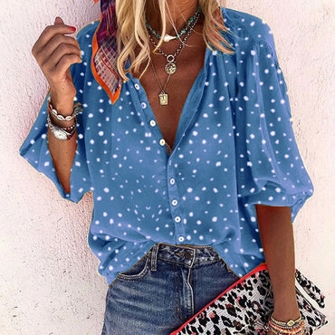 Blouse Boho Polka Dot Print Shirts Long-Sleeve V-Neck Button Shirts