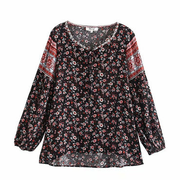 Boho Vintage Floral Print Blouse Shirt Square Collar Top