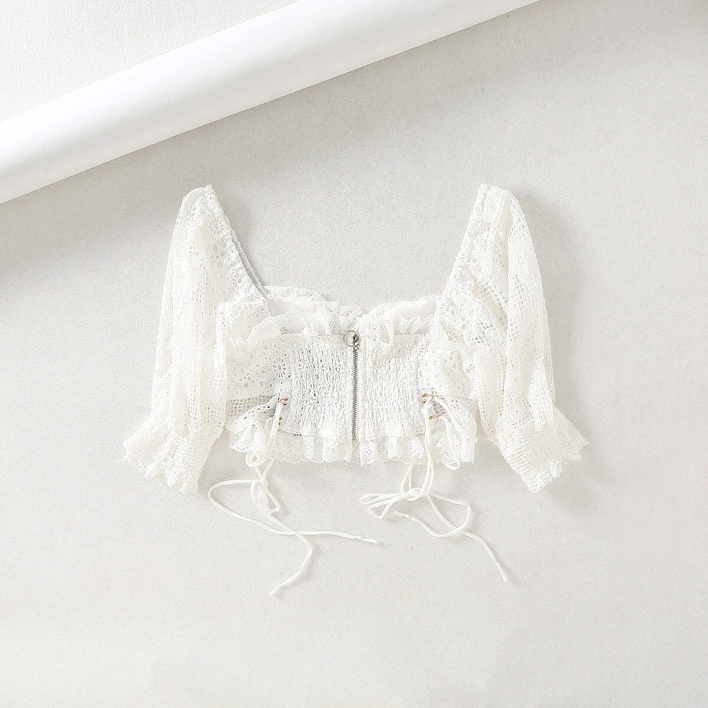 hollow out white blouse tops and blouses