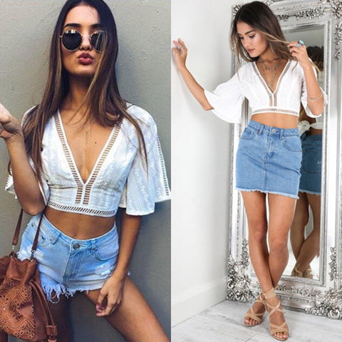 Fashion Boho Beach Mesh Lace up Loose Casual Tops