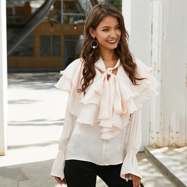 Solid Ruffles Blusa Long Sleeve V Neck Sexy Bow Vintage Shirt