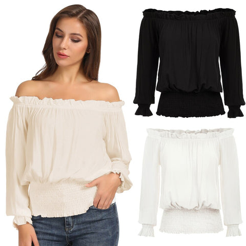 Sexy Long Sleeve Off Shoulder shirt vintage style