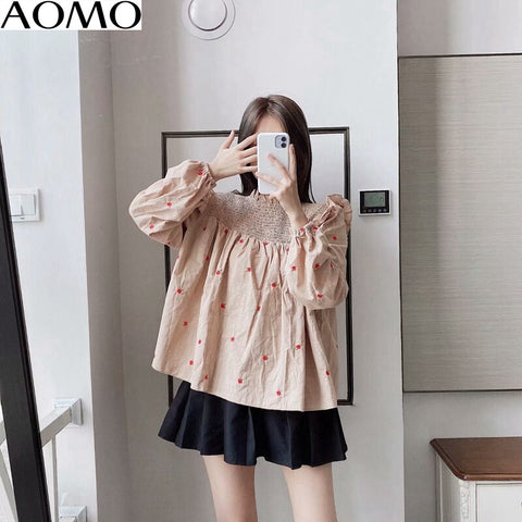 pleated embroidery khaki shirts long sleeve solid o-neck