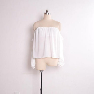 Off shoulder beachwear Chiffon blouse boho slash neck