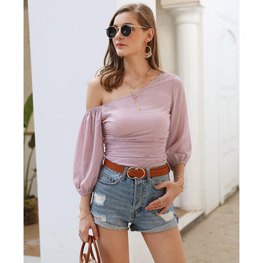 Boho Elegant Sexy One-shoulder Printed Casual Chiffon Blouse Shirt