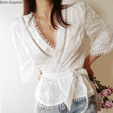 Boho Inspired white cotton blouse shirt embroider