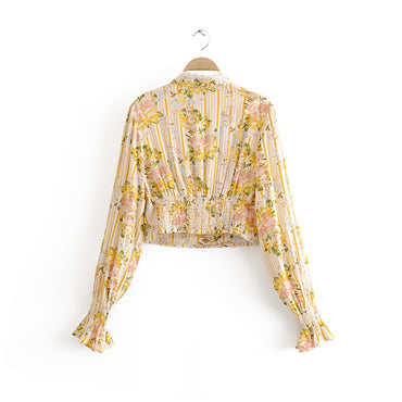New Fashion Boho Floral Print Lace Patchwork Short Shirts