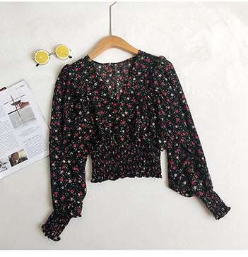 Floral Top V Neck Crop Top Chiffon Blouse