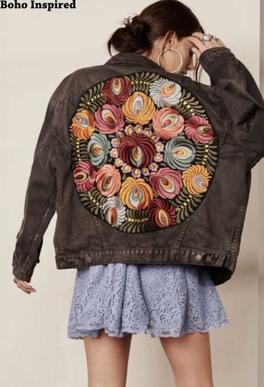 Boho Inspired Oversized multi floral Embroidered Denim Jacket