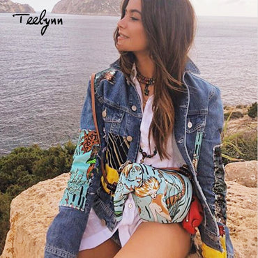Boho female jacket vintage cartoon pattern qppliques