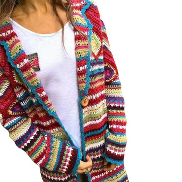 Multicolor Print Ethnic Wind Knit Cardard Long Sleeve Long Coat