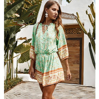 Vinson Tie up Neck Boho Print Playsuit Short Jumpsuit
