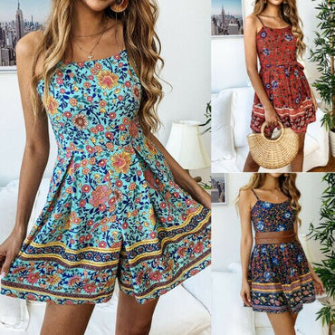 Floral Mini Playsuit Jumpsuit Shorts Romper Sleeveless