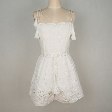 Playsuit Boho Hollow Out White Lace Romper Spaghetti